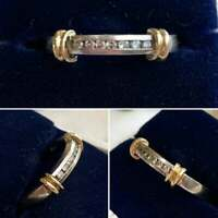 18K Two Tone Gold Over Channel Set Round Diamond Wedding-Anniversary Band Ring