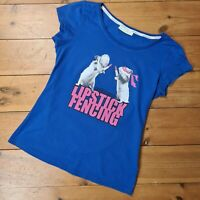 Adidas Neo Label Womens Blue Lipstick Fencing Cap Sleeve Cotton TShirt - Size S