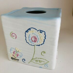 Fieldcrest Butterfly Floral Ceramic Tissue Box Cover Hand Decorated Blue Multi