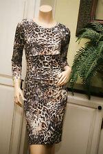 Cluny Ny by Cynthia Steffe Knee Length Bodycon Dress Black Tan Cheetah 6 Nwot