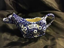 CALICO BURLEIGH STAFFORDSHIRE BLUE AND WHITE 1074 COW CREAMER JUG, PERFECT.
