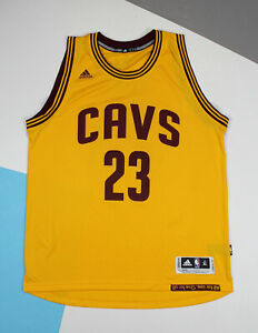 Adidas NBA Lebron James #23 Cleveland Cavs Cavaliers Jersey Swingman Yellow (XL)