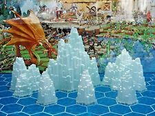 Heroscape Terrain 6 Glaciers or Ice Mountains with bases  - Thaelenk Tundra