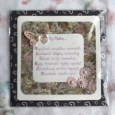Handmade Handcrafted Mothers Day Card Embellished Floral Butterfly Handmade Card