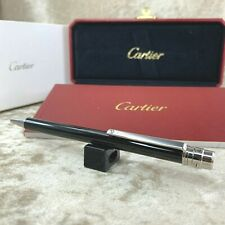 Authentic Cartier Ballpoint Pen Santos Black Lacquer Silver Accents w/Box&Papers