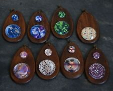8 ASSORTED WOODEN WATER DROP BACKED GLASS PENDANTS PATTERNED TREES MARKET SELLER