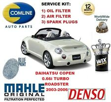 FOR DAIHATSU COPEN 0.66 0.7 2003-2006 OIL AIR FILTER + SPARK PLUGS SERVICE KIT