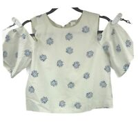 Club Monaco Womens S Small White Floral Blouse Off The Shoulder Crop Top Ladies