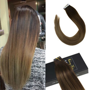 Sunny 20pcs Remy Tape in Hair Extensions Human Hair Balayage Blonde 4/10/16# 50g