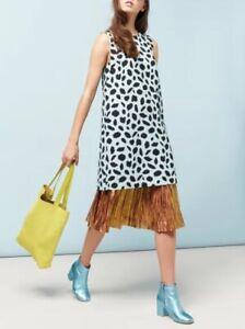 Mint Gorman blue black Dalmatian silk/linen  Shift Dress 12 -10 One Boho Season