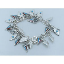 925 Sterling Silver Natural Blue Turquoise Red Coral Arrow Head Charm Bracelet