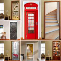 3D Door Wall Fridge Sticker Decals Self Adhesive Mural Scenery Fabric Decor UK