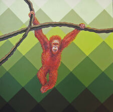 Original expressionist painting on canvas of an orangutan by Cliff Howard