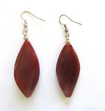 Fashion Earrings-- long diamond shape- brown stone- french wire