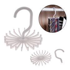 White 20 Hook Neck Rotating Rack Tie Hanger Holds Ties Scarf Organizer Plastic