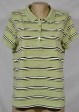 FASHION BUG Green Striped Polo Shirt Top 14W 16W Short Sleeves Stretch Cotton