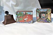 1800s Cloisonne Desk Set,Box,Ink Well,Brush Rest,Fine Condition,N/Re