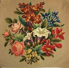 Beautiful 19th C. Wool American Hand Embroidered Needlepoint (2936)