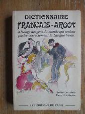 LERMINA Dictionnaire Thématique Français-Argot suivi d'un Index Argot-Français