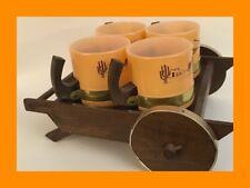 Siesta Ware Vintage 4 Mug Set With Cart - Mexico/Sombrero - Wood Handles - RARE!