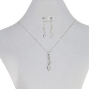 18ctw Single Cut Diamond Earrings & Pendant Necklace Set -10k White Gold Spiral