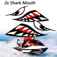 2xCar boat kayak shark teeth mouth eyes vinyl waterproof decal funny sticker EB