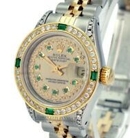 Rolex Lady Datejust 26mm Champagne Diamond Dial  Diamond Emerald Bezel-QUICKSET