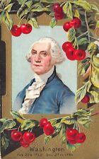GEORGE WASHINGTON c1910 Embossed Patriotic Postcard Cherries