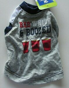 Top Paw Dog Shirt Red White & Boozed Size X-Small Red White Blue Gray NWT Cute