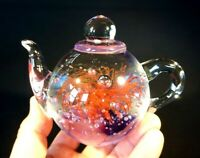 Beautiful Vintage Art Glass Teapot Paperweight With Pink Fireworks / Flower