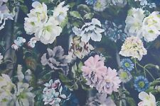 "DESIGNERS GUILD CURTAIN FABRIC ""Delft Flower"" 3 METRES GRAPHITE 100% LINEN"