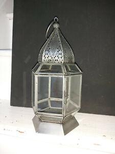 ANTIQUE FINISH MOROCCAN STYLE GLASS LANTERN