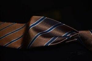 NWT Brooks Brothers Made in NY Mocha Satin Ribbed Blue Framed Stripe Silk Tie NR