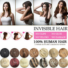 Crown Wire Invisible Headband Hair Extensions Halo Style 100% Human Hair 20''