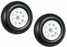 2-Pk Trailer Tire On Rim ST205/75D14 205/75 14 in. LRC 5 Hole White Spoke Wheel