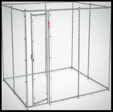 LUCKY Galvanized Chain Link Dog Kennel Large Pet Pen Mesh Cage Crate 10x5x6 ft