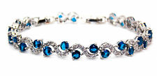 18k White Gold Plated Blue Sapphire And White Topaz 14.01ct Adjustable Bracelet
