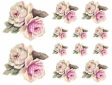 Vintage Image Shabby Purple-Pink & White Cabbage Roses Waterslide Decals Fl453