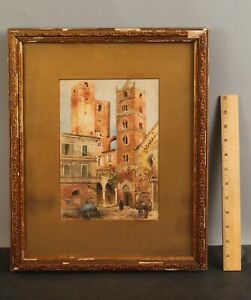 19thC Signed Antique Italian Watercolor Painting, Medieval ALBENGA Architecture
