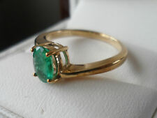 9K EMERALD YELLOW GOLD RING MAJESTIC EMERALD 0.533CTS LOVELY COLOUR EMERALD