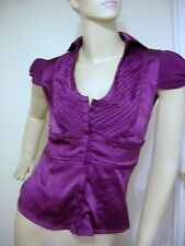 purple plum satin silky top short chiffon cap sleeve shirt SAVIDA ruched gather