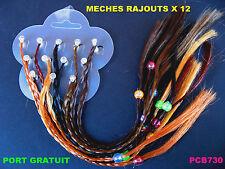 EXTENSION CHEVEUX  TRESSES  X 12 /  MECHE  RAJOUT CHEVEUX / RAJOUT CHEVEUX