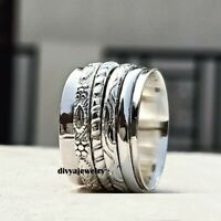 Solid 925 Sterling Silver Spinner Ring Meditation Ring Statement Ring Size R0125