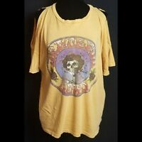 Mighty Fine Grateful dead womens blouse large yellow cotton cold shoulder