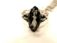 10K White Gold 3ct Three-Stone Color Changing Mystic Topaz Ring Size 7