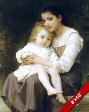 YOUNG WOMAN GIRL HOLDING LITTLE SISTER OIL PAINTING ART REAL CANVAS GICLEEPRINT