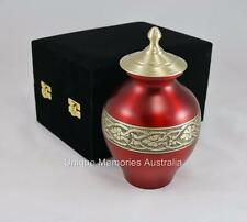 "Solid Brass 8"" Regal Cherry & Ornate Gold Cremation Memorial Funeral Urn - 34 kg"