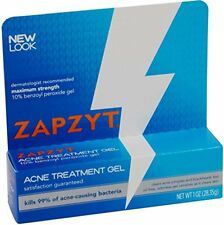 3 Pack Zapzyt Acne Treatment Gel 10% Benzoyl Peroxide Gel 1 Oz Each