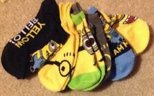 ! Minions Boys Socks Size 4 - 7.5 6 Pairs No Show Solid Colors