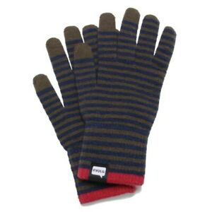 Bon Evolg Gloves Knit Unisex One Size Touch Screen Con Olive Navy - NWT
